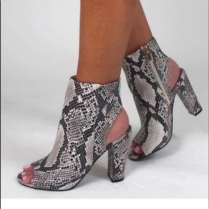Snake skin peep toe booties!